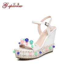 2018 Summer New Fashion Shoes Platform Wedges Elegant Wedding Sandals White High Heels For Prom