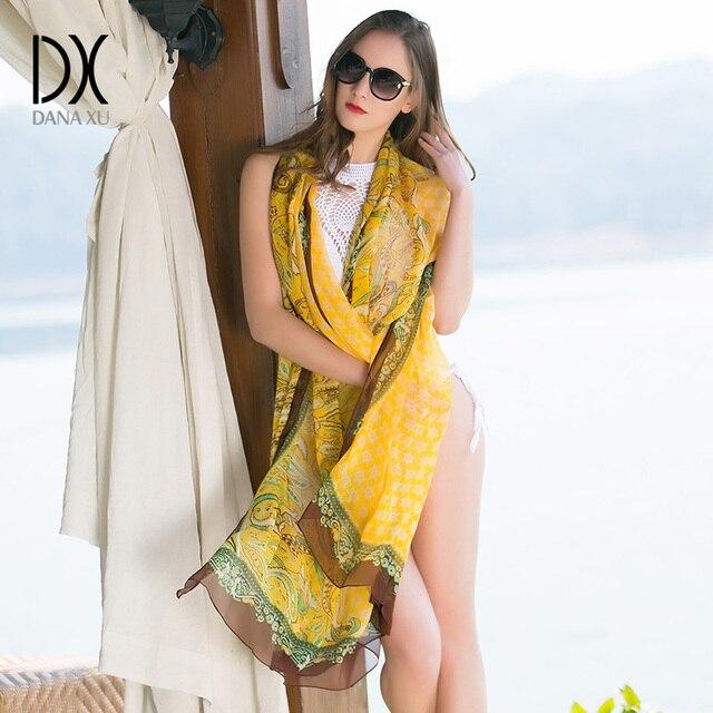 Foulards en soie de marque pour femmes   Hijab de luxe, Foulard Bandana, châle portefeuille, grande taille 2019x245 cm, couverture de plage, 110