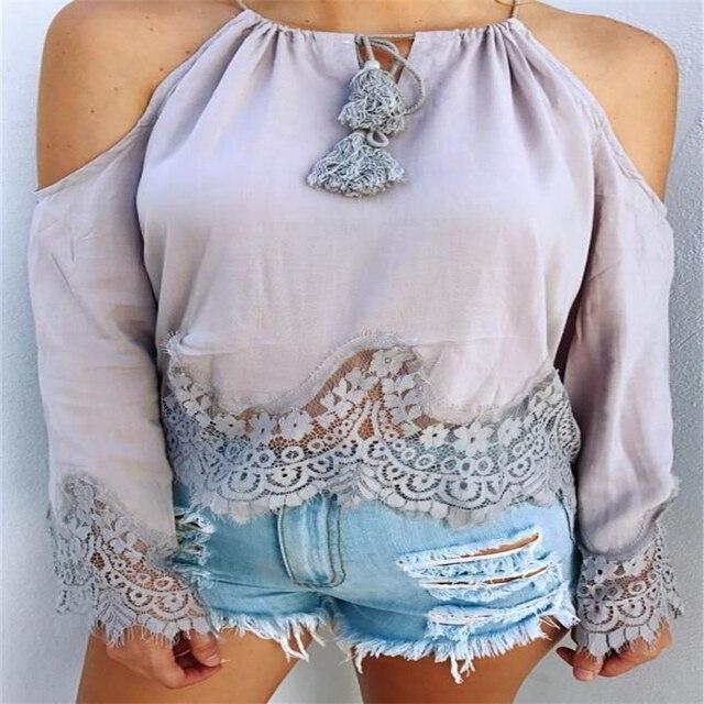 5271c32e1243d Women Lace Applique Open Shoulder Top 2017 Autumn Tops Long Sleeve Cold  Shoulder Casual Blouse