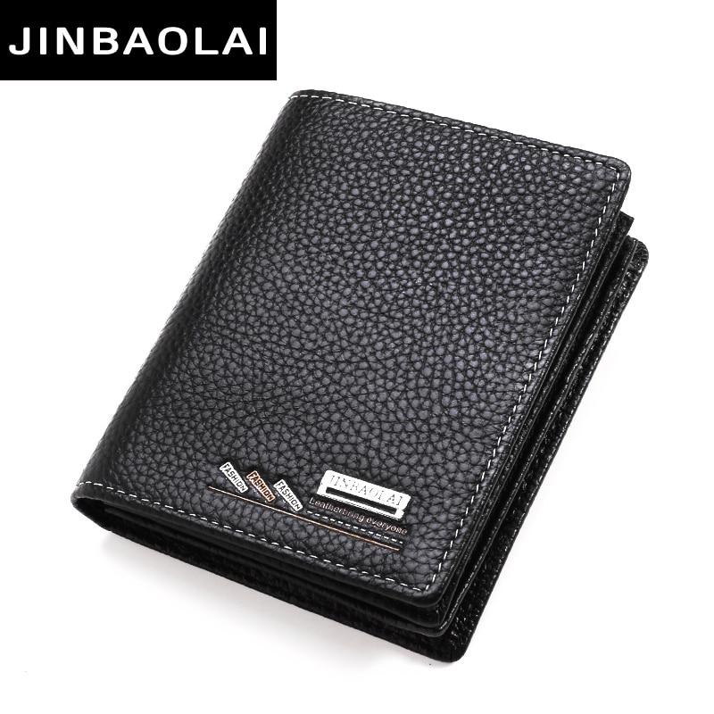 JINBAOLAI Cow Leather Men Short Wallet Casual Genuine Leather Male Wallet Purse Standard Card Holders Wallets For Men Designer цена
