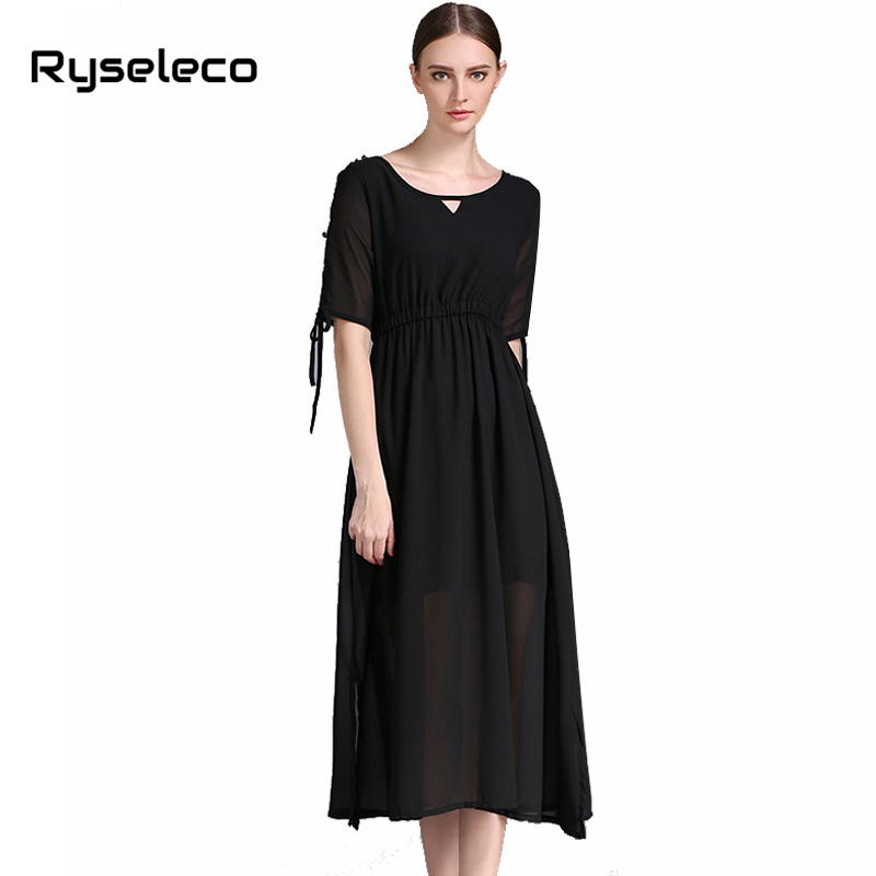 Women 2017 Summer Clothing Female Casual Brief Cold Shoulder Buttons Half Sleeve Side Split Mid-calf Dresses Oversize Vestidos