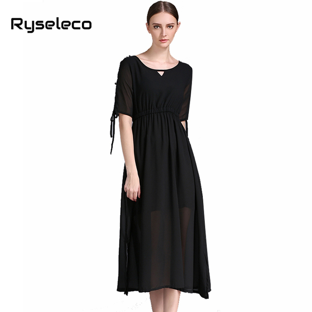 Women 2017 summer clothing Female casual brief cold shoulder buttons half sleeve side split mid-calf dresses oversize vestidos