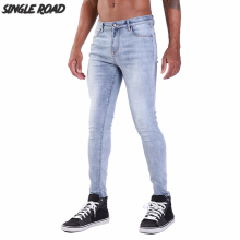 цены на Single Road Super Skinny Jeans Men 2019 New Mens Distressed Blue Jeans Stretch Denim Pants Elastic Slim Fit Brand Man Jeans Male  в интернет-магазинах