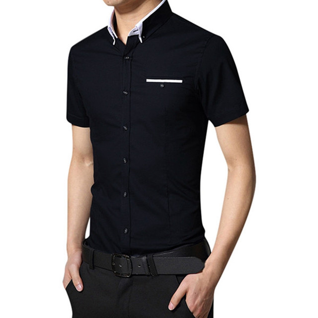 Мужчины Бизнес Платье Рубашка Горячий Продавать 2017 Рубашка Homme Мода Мужская Случайный Поворот Вниз Воротник Короткий Рукав Рубашки Плюс Размер