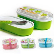 BF050 Cute cartoon Childrens double lunch box (with spoon) 15*8*8cm food storage bento free shipping