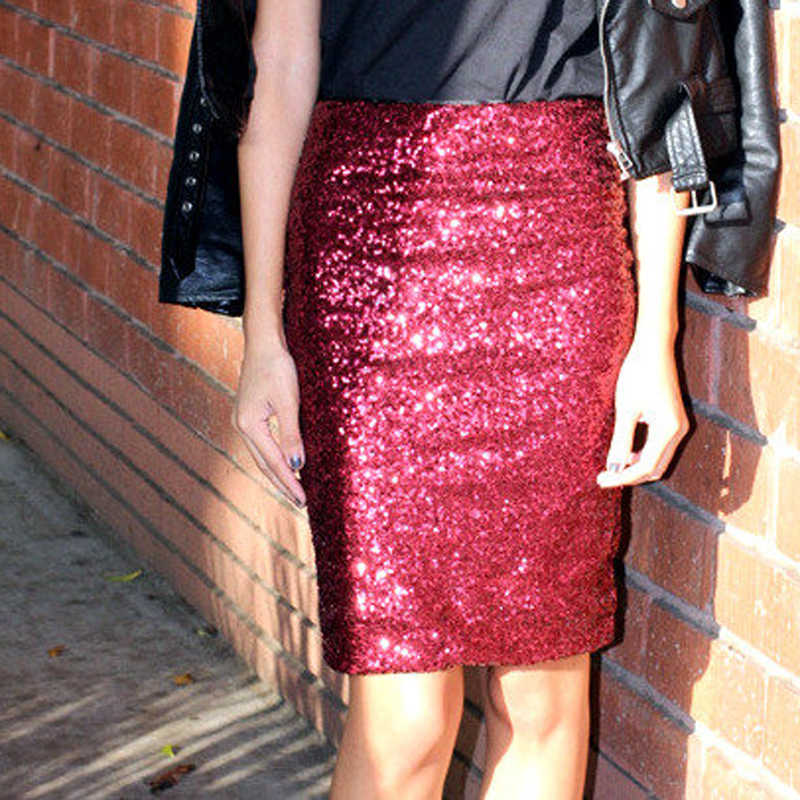 6a3cf7f660 Detail Feedback Questions about Shiny Red Sequins Midi Skirts for Women  High Waist Zipper Style Fashion Pencil Skirts Custom Made Any Size  Available on ...