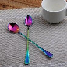 6Pcs/lot Stainless Steel Rainbow Coffee Tea spoon Dessert Teaspoon Fruit Scoop