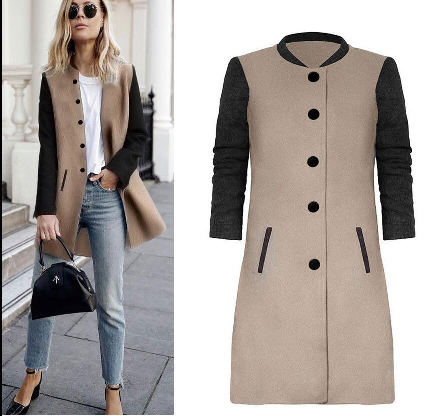 Casaco Feminino   Trench   Coat Solid For Full Women Real Women's Free Shipping 2019 Winter New Color Contrast Stitching Long Shirt