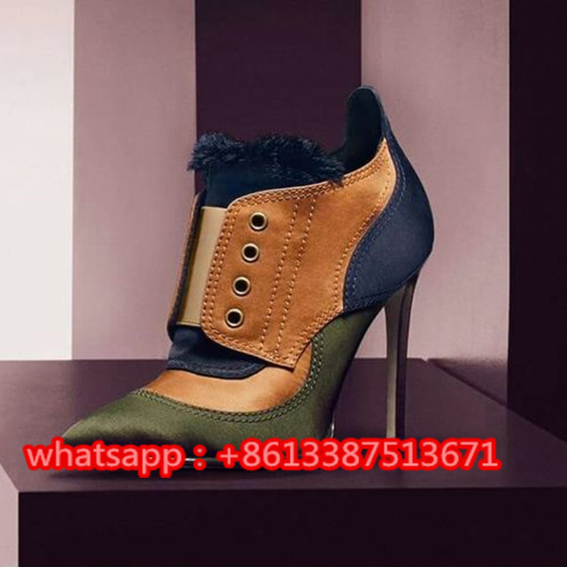 New Collection Mitsu Fringed Paneled Satin Ankle Boots Mixed Colors Frayed Satin And Elastic Pointy Toe Stiletto High Heel Boots tokyobay mitsu t399 mu