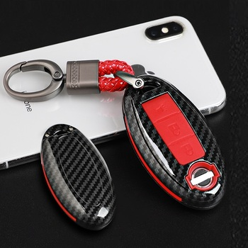 Carbon Fiber Texture Car Key Cover Case For Nissan Qashqai J10 J11 X-Trail t31 t32 kicks Tiida Pathfinder Murano Note Juke image