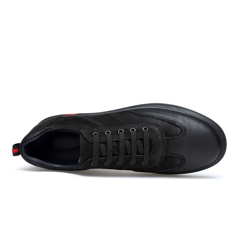 Occasionnels 2018 Printemps Chaussures Respirant Nouvelle Doux Véritable Noir Arrivée Main Appartements automne Hommes Cuir De TqHEA