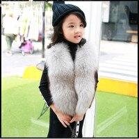 Детская натуральным лисьим мехом жилет для маленьких детей осень зима толстые теплые короткие натуральная меховая верхняя одежда жилет од