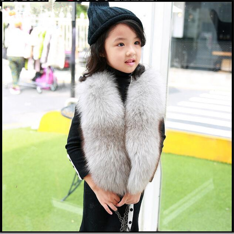 Children's Real Fox Fur Vest Baby Kids Autumn Winter Thick Warm Short Natural Fur Outerwear Vest Solid Short Solid Vests V#10 2017 children s real raccoon fur vest baby girls autumn winter thick warm long fur outerwear vest kids solid v neck vests v 13