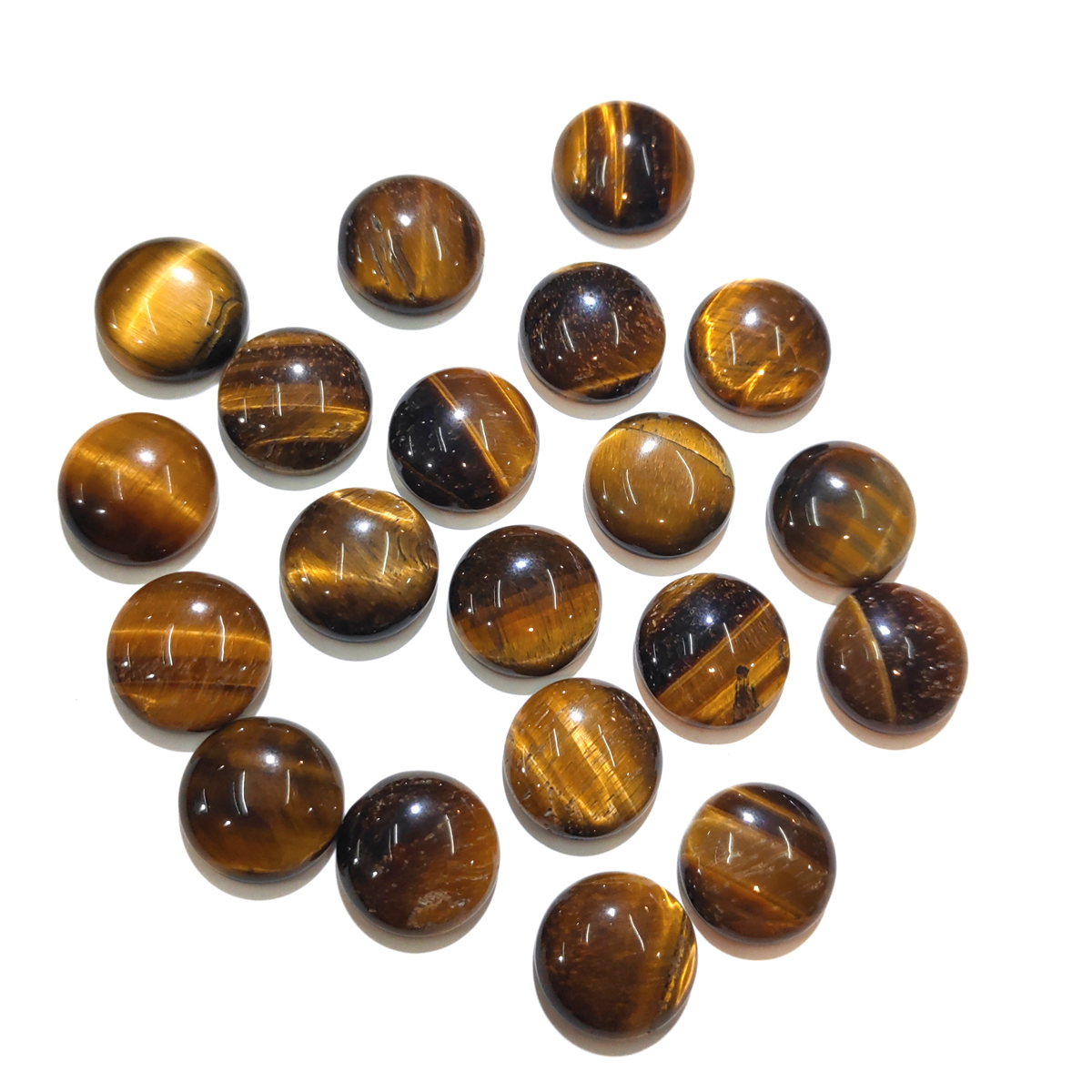 20 PCS Tiger Eye Stone Natural Stones Cabochon 6mm 8mm 10mm Round No Hole For Making Jewelry DIY