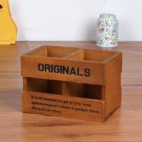 Wooden Desktop Organizer Storage Box Pen Pencil Box Jewelry Makeup Holder Stationery Brown Office Storage Rack