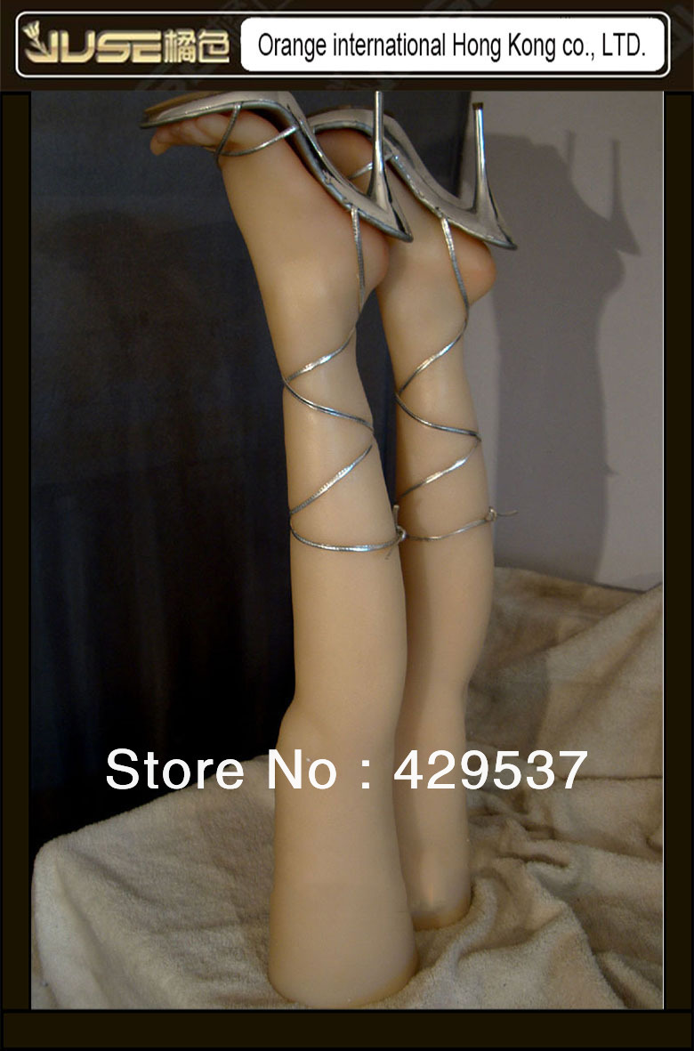 Top Quality Online Sale 84cm Super Real Sock Display Feet with Legs,Solid Silicone Female Leg and Feet,Female mannequin,FT-3501L new 2pcs female right left vivid foot mannequin jewerly display model art sketch