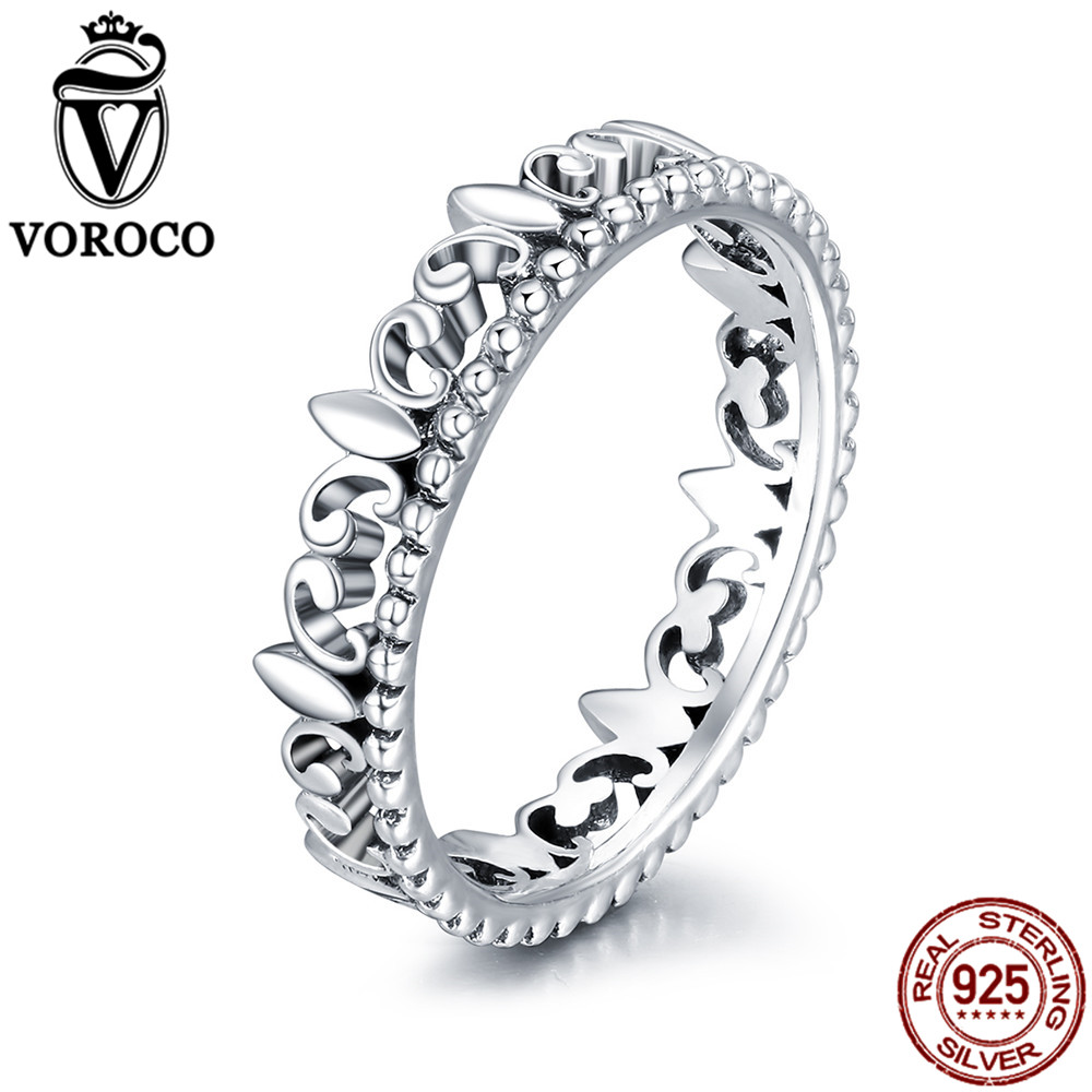 VOROCO Genuine 925 Sterling Silver Vintage Lily Iris Flower Pattern Stackable Rings For Women Fine Jewelry Argent Bague VSR128