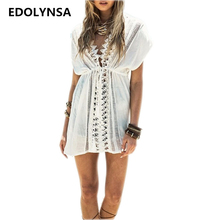 EDOLYNSA Cover up Rayon White Swimwear Ladies Robe de Plage Swimmsuit b191aa63353a