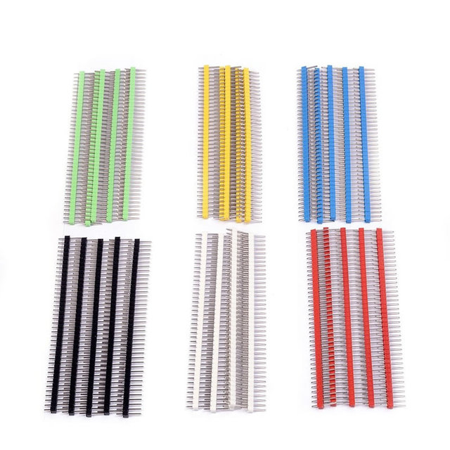 30pcs Pin Header Connector Male 2.54mm Pitch Pin Header Strip Single Row 40 pin Connector Kit for PCB board