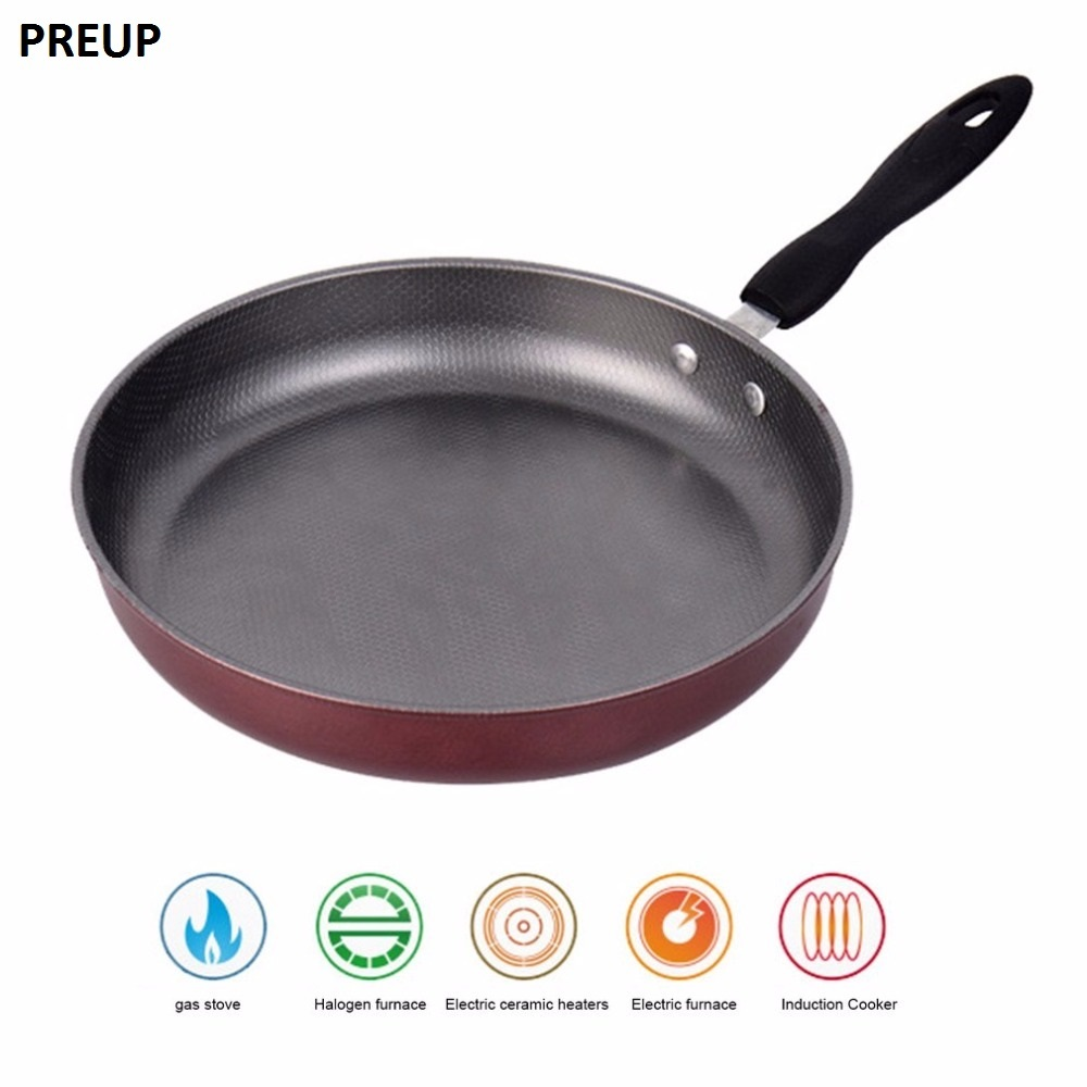 PREUP 26cm Non-stick Frying Pan Steel Material Teflon Coating Inside Inductiion&Gas Cookware Home Kitchen Cooking Pans Helper