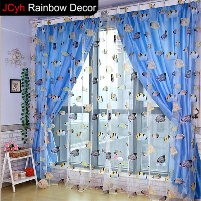 JRD Kids Cartoon Fish Blackout Tulle Curtain Colorful Blue Ocean Sea Life  Window Curtains Bedroom Voile
