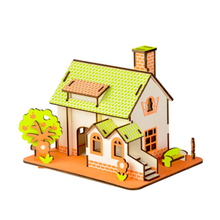 DIY Model toys 3D Wooden Puzzle-Green Apple house Wooden Kits Puzzle Game Assembling Toys Gift for Kids Adult P18