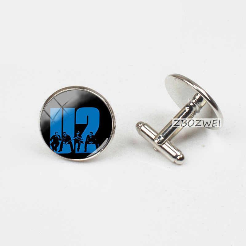 New Trendy Pop Rock Band U2 Cufflinks Steampunk Rock Band U2 Glass Photo Cuffs Round Jewelry Shirt Cufflink For Mens Gifts