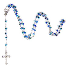 8mm Turkish Jewelry Blue Eye Necklaces For Men/Women Trendy Stainless Steel Saint Benedict Rosary Cross Long Necklace(China)