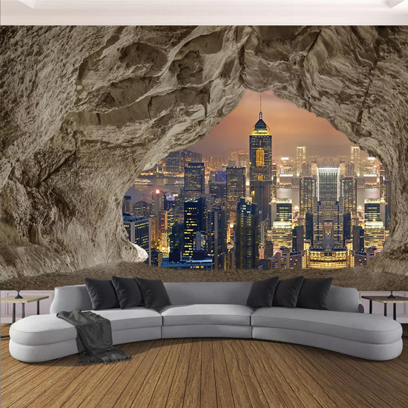 Custom Mural Wallpaper 3D Creative Cave Stone Wall City Night View Photo Wall Paper Living Room Bedroom Background 3D Home Decor