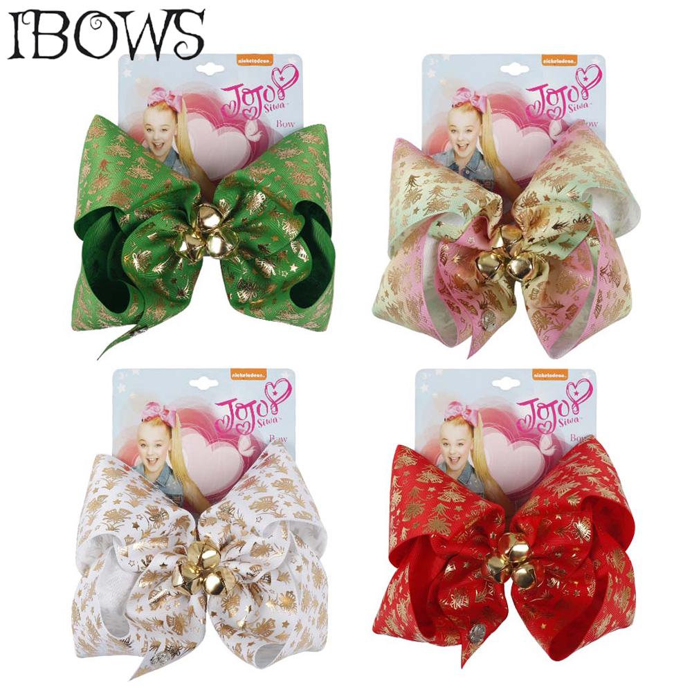 7 '' Santa Jingle Bell Hair Bows Printed Gold Bells Christmas Large Hair Clips For Girls Hair Accessories For Happy New Year
