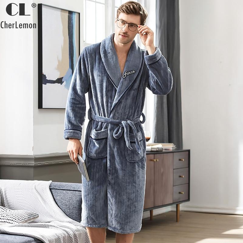 CherLemon Winter Luxury Flannel Robe Mens Warm Fluffy Bath Robe Super Soft Thick Fleece Shawl Collar Sleepwear Male Housecoat
