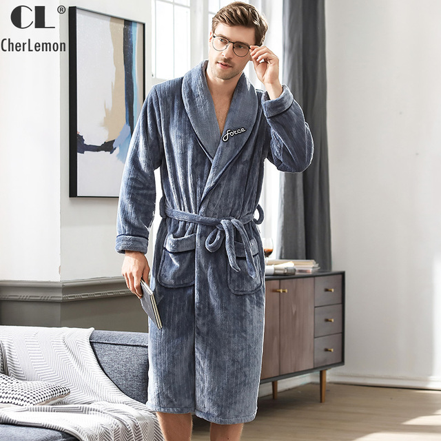 149af80485 CherLemon Winter Luxury Flannel Robe Mens Warm Fluffy Bath Robe Super Soft  Thick Fleece Shawl Collar