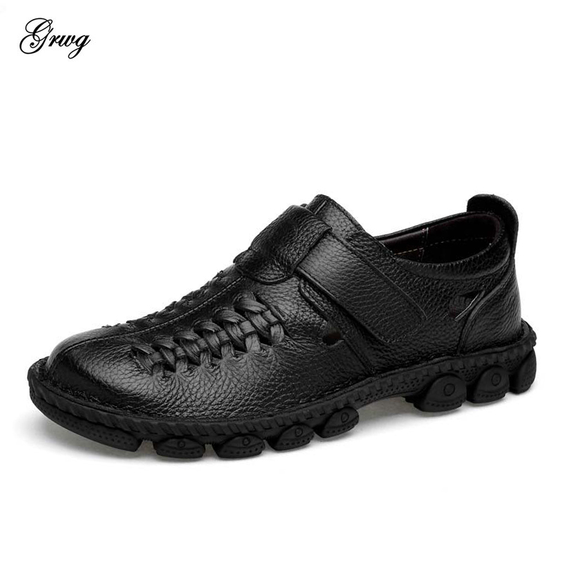 GRWG New Fashion 100% Genuine Leather Casual Shoes Men Loafers Leather Men Summer Shoes Breathable Outdoor Shoes Walking Zapatos