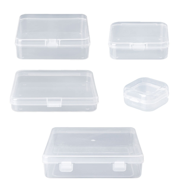 5 Sizes Optional Square Transparent Plastic Jewelry Storage Boxes
