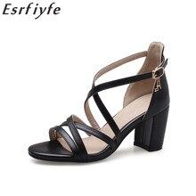 ESRFIYFE 2018 nuevas mujeres zapatos de moda cuadrados tacones Mujer  Sandalias Oficina y carrera zapatos de a30397296c8e