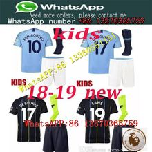 a3e3e0219 2018-19 kids kits Manchester City KUN AGUERO patch soccer Jersey best  quality TOURE YAYA