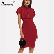 цены Burgundy Wine red High Waist Vintage Ruffle Sleeve Women Bodycon Dress Elegant Retro Party Lace Eyelet Hem Slit lady Dresses New