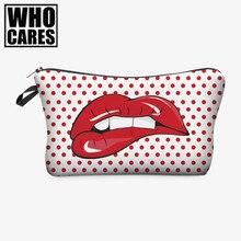 Red lip 3D Printing women cosmetic bags neceser makeup bag bolsos mujer de marca famosa 2016