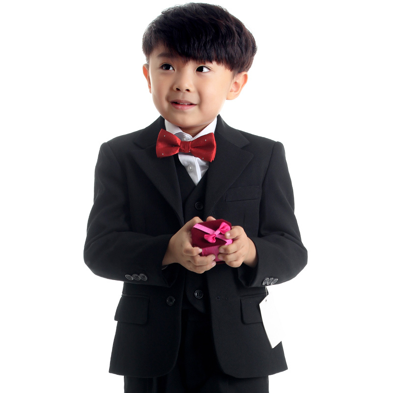 6ae44cb56b2f all-black boys formal outfits children ceremonial attire kids wedding suit  child three-piece(jacket vest pants)set FREE SHIPPING