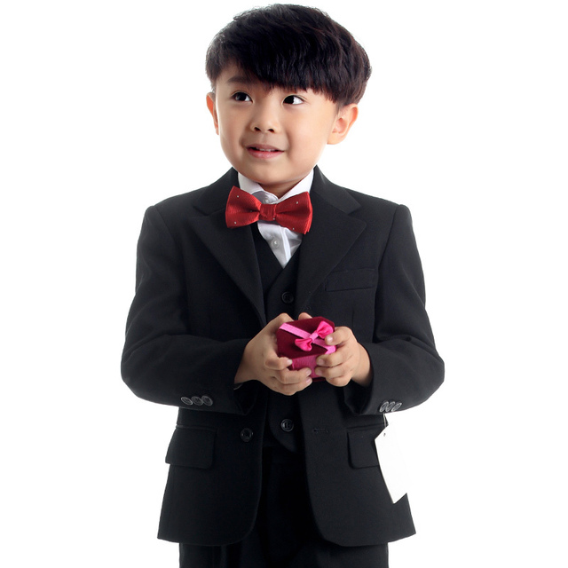 All Black Boys Formal Outfits Children Ceremonial Attire Kids Wedding Suit Child