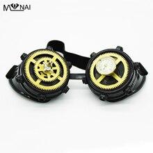 Уникальные ретро-сварки Cyber Round Goggles Goth Steampunk Style Cosplay Antique Spikes Eyewear Punk Rivet Clock Зубчатые колеса