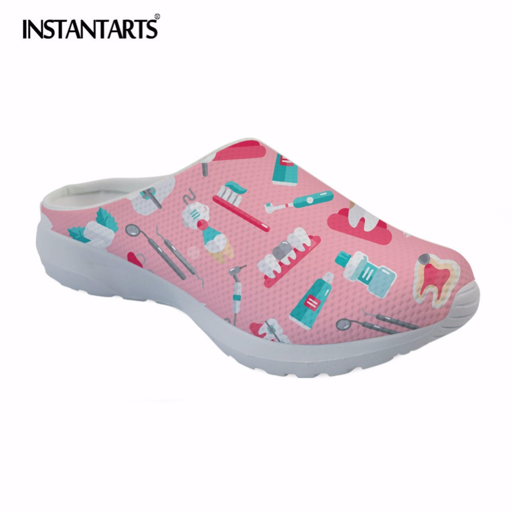 INSTANTARTS Pink Cartoon Dental Equipment Printing Women Casual Sandals Summer Breathable Mesh Slippers for Female Girls Zapatos