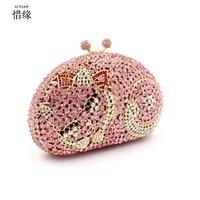 XIYUAN BRAND women Casual and fashion pink cat shape flower vintage small rhinestone beaded diamond bag female shoulder bags