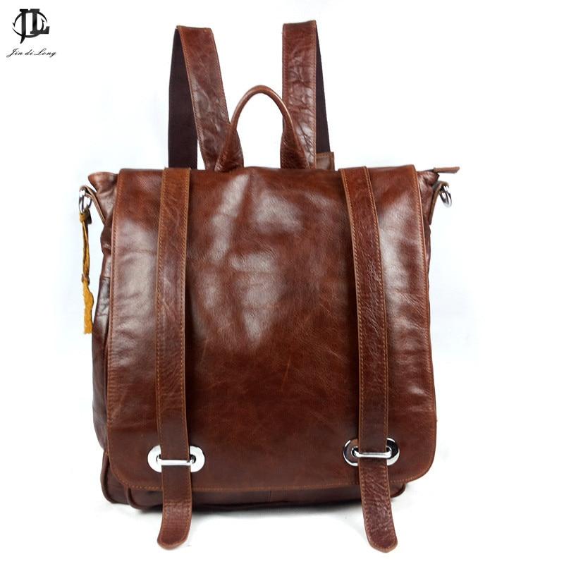fashion luxury Brand Retro Oil Wax Genuine Leather Cowhide Unisex Travel Backpacks School Shoulder Bags Men's&WomenRucksack