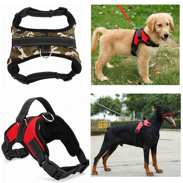 Nylon Heavy Duty Dog Pet Harness Collar Adjustable Padded Extra Big Large Medium Small Dog Harnesses vest Husky Dogs Supplies 1