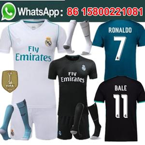 Free shipping Adult reals kit short and socks camisetas de futbol Soccer  jersey madrides best quality 2017 2018 football jersey 8cb411d405c29