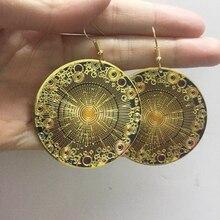 Afghan India Middle East Golden Enamel Earring Round Geometric Drop Ears Hippie Tribal Egypt Nepal Gypsy Festival Ethnic Jewelry dhanedhar manisha narwade sunil tribal malnutrition in india