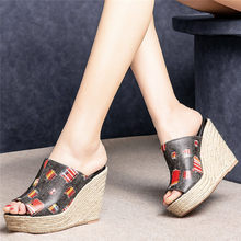 NAYIDUYUN   2019Women Slides Genuine Leather Embroider Wedges Platform Slippers Outside High Heel Pumps Party Punk Oxfords Shoes