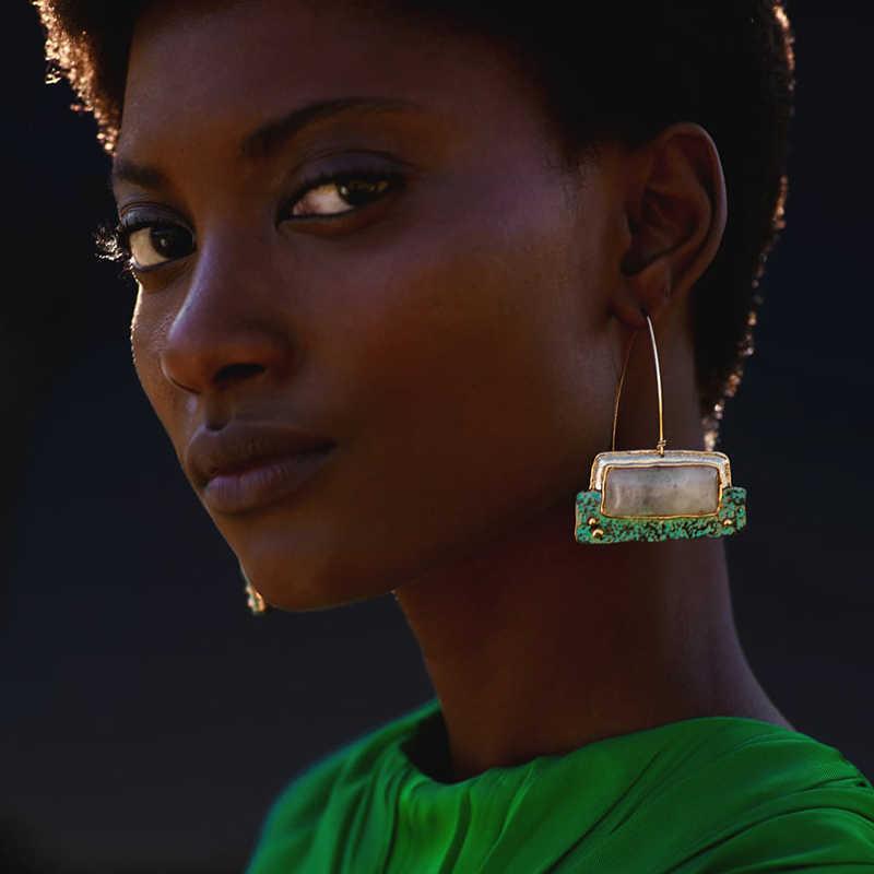 ZA New Trendy Bohemia Stone Hanging Earring Vintage Ethnic Geometry Long Dangle Earring For Women Jewelry Wholesale