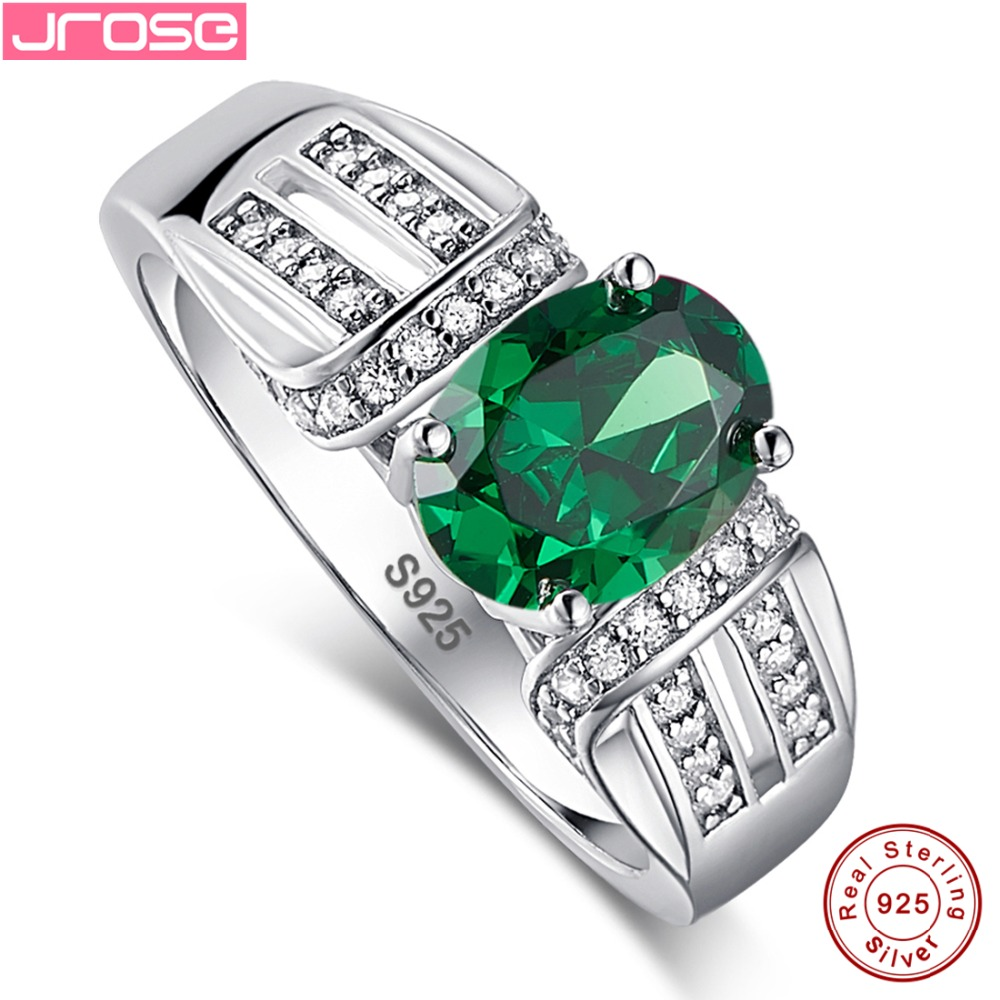 Jrose 2.0ct Nano Laboratory Created Emerald Solid 925 Sterling Silver Rings For Women Size 6 7 8 9 Gorgeous Classic Fine Jewelry